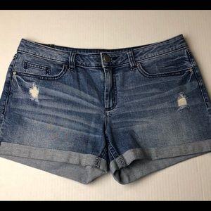 Lauren Conrad Distressed Denim Cuffed Shorts Sz 8